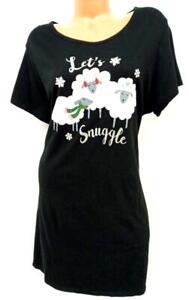 Secret treasures black sheer let's snuggle short sleeve sleepwear dress 2X/3X