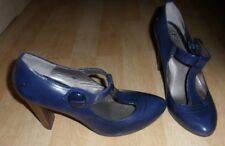 Ladies BERTIE Royal Blue Leather Mary Jane Heeled Shoes - Size EU 38