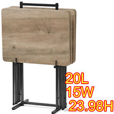 RUSTIC GRAY TV TRAY HOME FOLDING WOOD TABLE SET OF 4 W/ STAND NO TOOLS ASSEMBLY