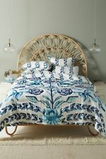 Anthropologie Capricorn White Blue Teal  Queen Floral Quilt NWT