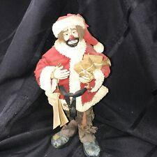 Rare Emmett Kelly Jr Flambro Real Rags Fabric Mache Santa Figurine No Santa List