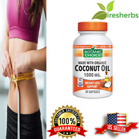 ORGANIC COCONUT OIL 1000mg ALL NATURAL WEIGHT LOSS SUPPORT DIET PILLS 30 SOFTGEL
