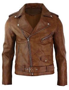 Mens Biker Brown Brando Motorcycle Real Leather Jacket