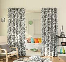 Curtain Drapes Set Grey White Zebra Youth Panel Pair Darkening Grommet 84-inch