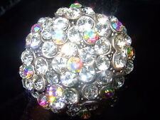 DIVA COCKTAIL ROUND CLUSTER  RHINESTONE RING AJUSTABLE SIZES