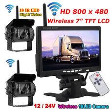 "Wireless Reversing Rear View Camera×2 Kit + 12V-24V 7"" TFT LCD Vehicle Monitor"