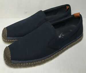 Tods Mens Canvas Boat Shoes Navy Rope Trim Size 9