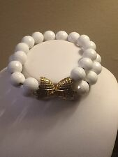 Vintage 1950's Monet Two Strand White Faceted Bead Bracelet Gold Tone Bow Clasp