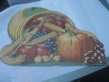 "Vintage Thanksgiving Cornucopia Cardboard Decoration, 12"" X 9"", 1940's-1950's"