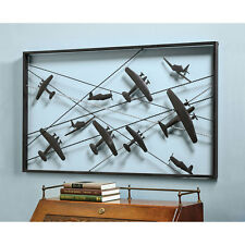"Vintage Airplanes Metal Wall Art - 42"" x 24"" - Mid Century Modern Design"