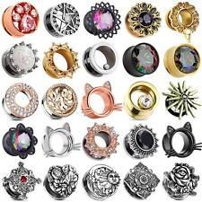 PAIR Stainless Steel Ear Gauges Opal Gems Kitty Ear Plugs Ear Tunnels Jewelry