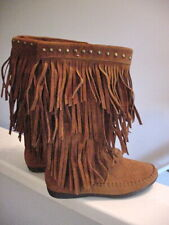 Rampage Ram-Cambra Cognac Brown Faux Suede Fringe Moccasin Boots WS1140 Sz 6 M