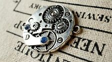 Steampunk clock watch connector charm antique bronze vintage style pendant C157