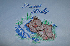 personalised minky  bunny rug teddy bear sleeping - add a name for FREE