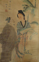 GA233;stunning antiques scroll handpainted famous signed painting-man and beauty