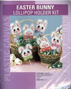 Easter Bunny Lollipop Holders Plastic Canvas Kit - 6 Plastic Canvas Bunnies  NEW