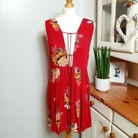 FREE PEOPLE (Large UK Size 16-18) Red Bohemian Floaty Tunic Dress Top Bold Print