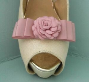 2 Dusky Pink Bow Clips for Shoes with Flower Centre