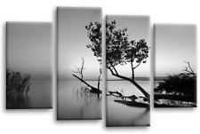 Floral Landscape Canvas Wall Art Grey Black White Sunset Seascape Split 44 X 27""