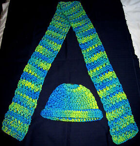 New! HANDMADE Knit CROCHETED Womens HAT and SCARF SET Blue GREEN Yellow ART Mens