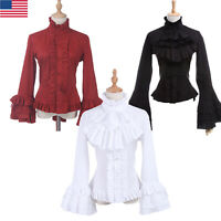 Women Sweet Lolita Ruffle Flute Long Sleeve Ruffle  Blouse Shirt Top Plus Size