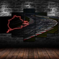 Framed Nurburgring Rally Track Circuit Poster 5 Pcs Canvas Print Wall Art Decor