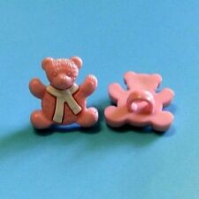 20 Little Teddy Bear Novelty Kid Sewing Clothing Dress It Up Buttons Pink K731