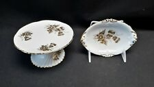 Hammersley England 5905 / 5705 Gold Thistle - Oval Dish and Footed Cake Stand