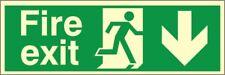 Fire Exit Down Sign  300mm x 100mm  Glow In The Dark Rigid Photoluminescent