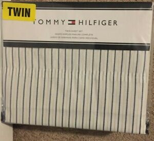 Tommy Hilfiger Navy/Gray & White Stripe 3 Piece Twin Sheet Set NWT