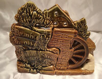 """McCoy Brown Dipped Glaze Ceramic Planter """"Down By The Old Mill"""" 1950's"""