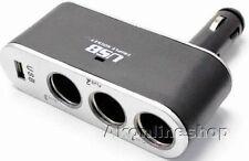 Auto Adapter 3 fach Zigarettenanzünder USB LED 12V KFZ Verteiler Stecker