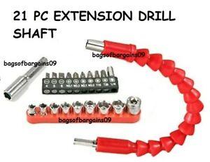 21pcs Set Screwdriver Bit Set and Flexible Shaft drill Bits Extension Magnetic
