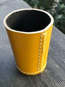 Würfelbecher Knobelbecher Leder- Color Gelb / Schwarz mit Filz
