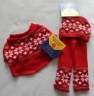 NEW Build A Bear Clothes Fair Isle Sweater Scarf  Hat Red  White Snowflake NWT