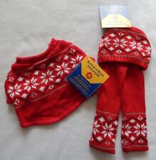 NEW Build A Bear Clothes Fair Isle Sweater Scarf & Hat Red & White Snowflake NWT