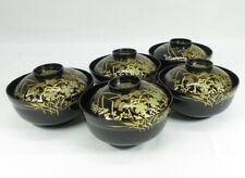 E065: Japanese five covered bowls of old lacquer ware w/beautiful flower MAKIE