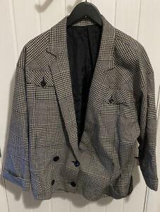 James Pringle Tweed Mens Blazer Jacket Black Size 44 Wool Houndstooth Size Large