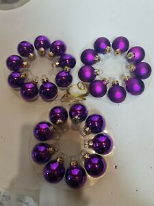 Purple Glass Baubles Pack Of 27 , Christmas Xmas Ornaments Hanging balls, decor