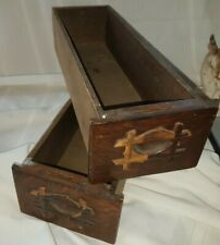 2 ANTIQUE TREADLE SEWING MACHINE WOOD CABINET DRAWER