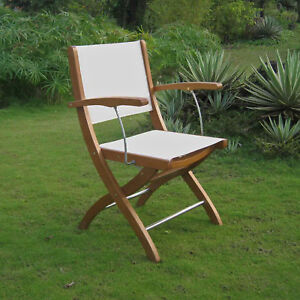 Royal Tahiti Folding Armchair with Ivory Colored Textiline Seat and Back and ...