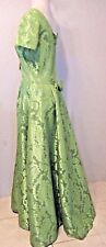 """Vintage 50's Emma Domb Long Dress Bust 38"""" Waist 32"""" Green Brocade   #1201 H"""