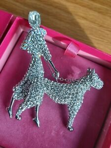 BOXED LARGE BUTLER & WILSON CRYSTAL LADY & DOG BROOCH