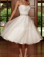 Stock White/Ivory short bead Lace Wedding Dress Bridal ball Gown size 6-16