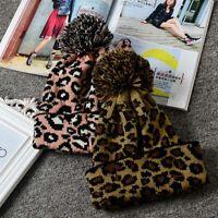 Soft Outdoor Leopard Woolen Women Knitting Caps Beanie Crochet Hat Knitted Cap n