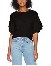 LOOK Women's Double Ruffle T-shirt Black Size Uk10 Eu38