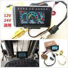 Universal 3in1 Car Oil Pressure Gauge Voltmeter Water Temp Meter W/Sensor 12-24V