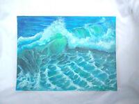Original Acrylic Painting 9 x 12 Canvas Panel, Beach Crashing Wave ,Seascape Art