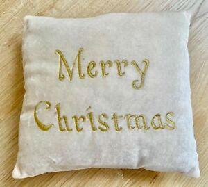 Vintage Velour Cream Gold Merry Christmas Cushion Pillow 11.5 x 11.5cm