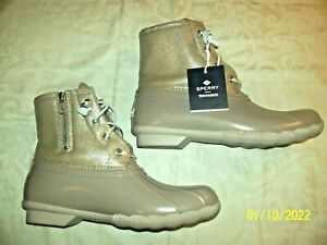 SPERRY Top Sider Saltwater Sparkle Boots Women's 9.5 M Dove/Gray NIB
